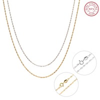 2 Colors 925 Sterling Silver Chain Necklace 1mm Water Wave Chains Basic Fashion Jewelry Accessories For