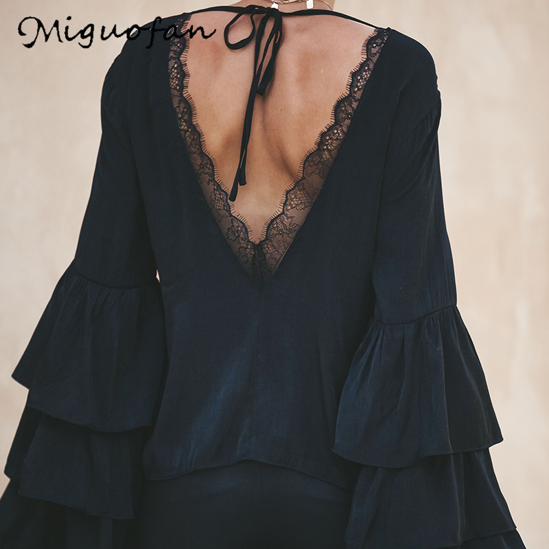 Miguofan Women Lace Patchwork Sexy Backless Blouse Tops Ruffles Back Tied O Neck Solid Lady Shirts Blouse Female 2019 Autumn New