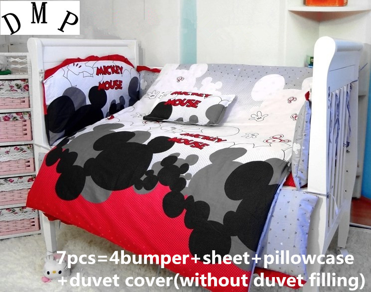 Promotion! 7PCS Cartoon Baby Crib Bedding Sets,Free shipping and Fast Delivery (bumper+sheet+pillow cover+duvet cover))