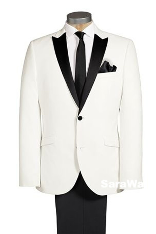 Custom Made Groom White Tuxedo, Bespoke White Tuxedo Jacket Black Lapel, Tailored White Jacket With Black Pants,Peak Satin Lapel