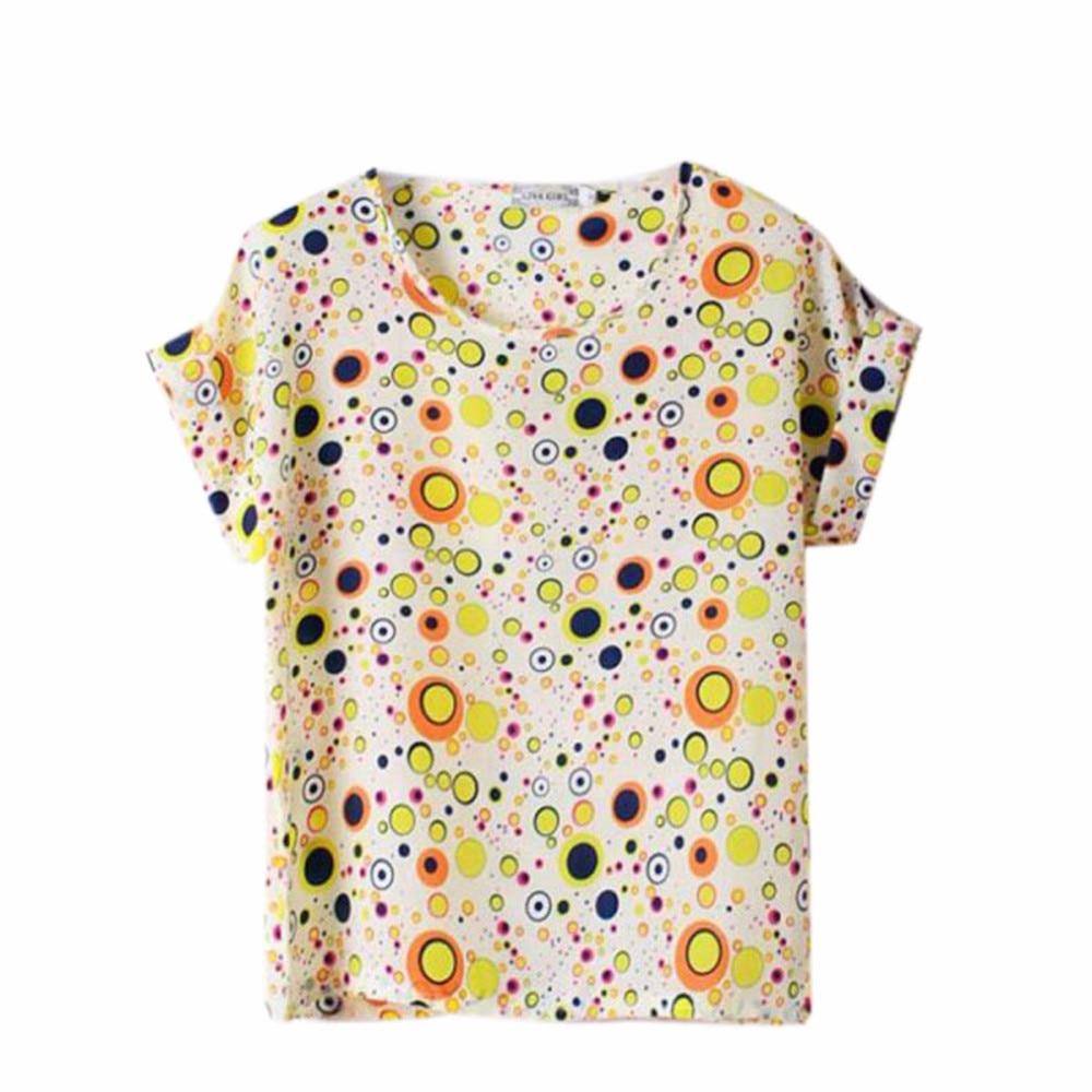 HTB1bfmyRXXXXXceXXXXq6xXFXXXP - T-shirts O Neck Bird Printed Women Top Colorful Short Sleeve