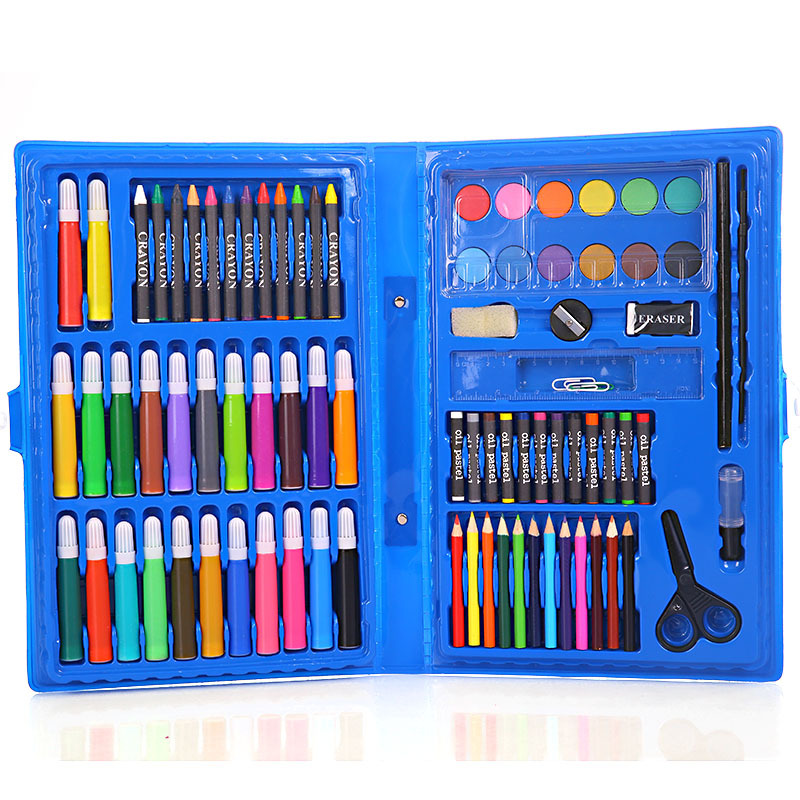 86 pcs/pack Watercolor Pen Suit Painting Art Supplies Crayons For Kids Pencil Colored Children Gifts