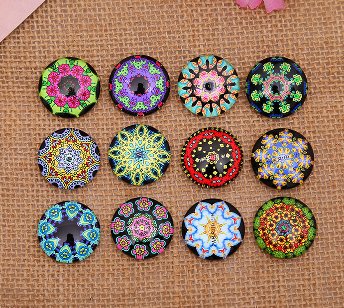 12mm 14mm 16mm 20mm  Flowers Pattern Round  Handmade Photo Glass Cabochons & Glass Dome DIY Handmade Cabochon Bead Settings