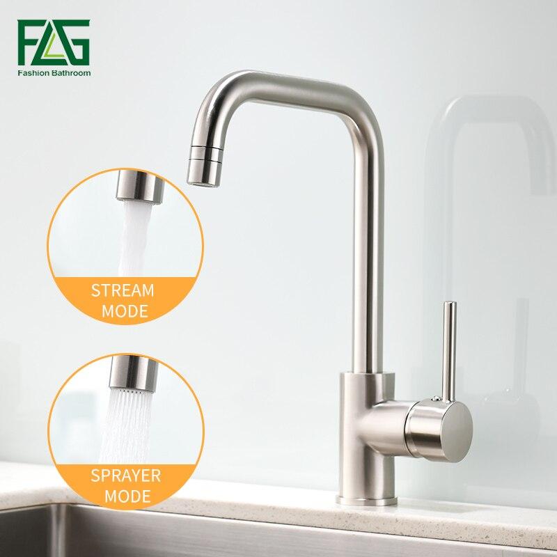 FLG Pias de Cozinha Giratória 360 2 Função Mixer Latão Níquel Escovado Torneira de Saída de Água Fria Hot Mixer Água Tap 1096-33N
