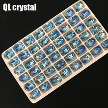 10x14mm Oval Tourmaline Glass Crystal  Pointback Fancy Stone for DIY garment bags shoes Jewelry accessory