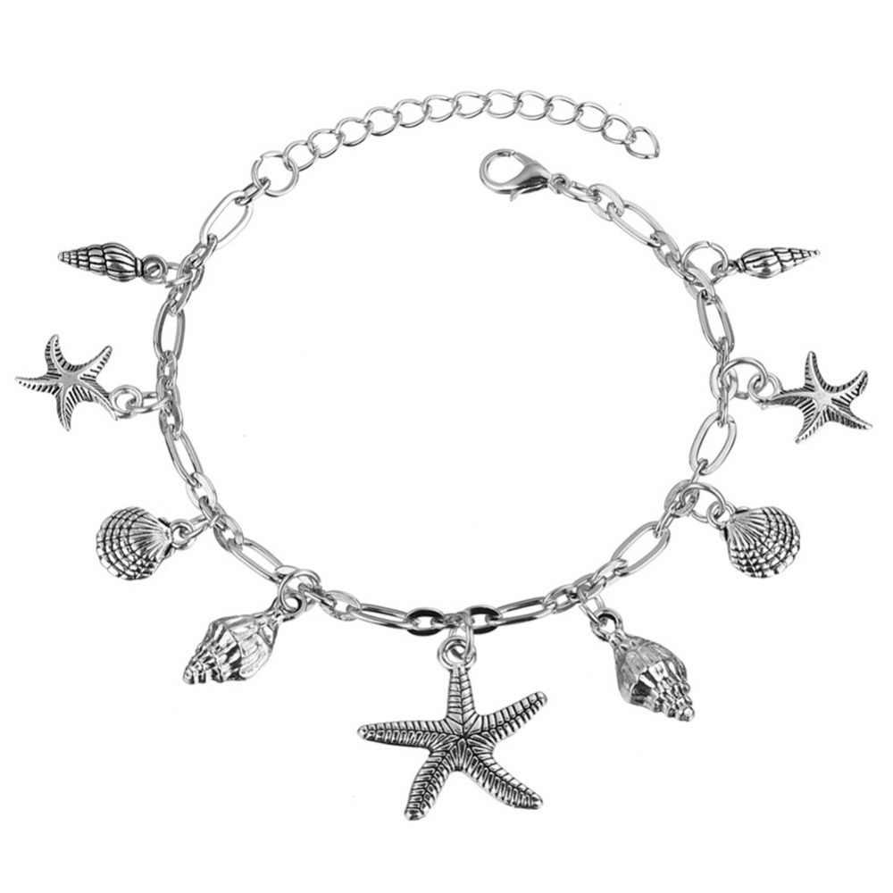Богемные браслеты на ногу с подвеской в виде морской звезды для женщин, модные серебристые браслеты на лодыжке в виде раковины, пляжные аксессуары в стиле бохо