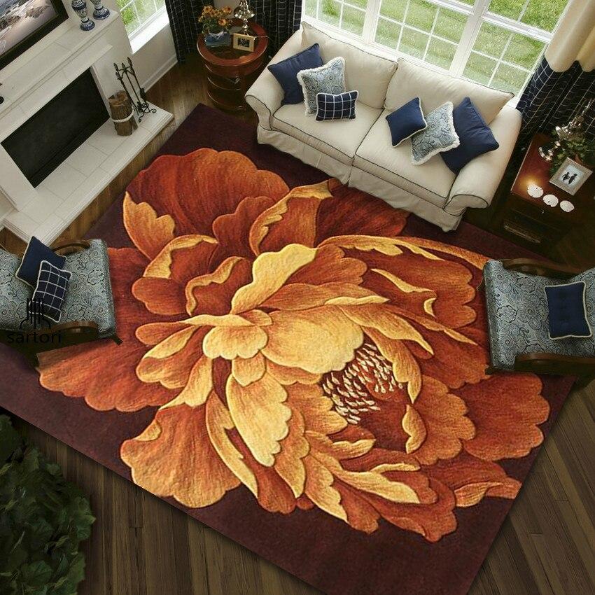 Tapis Floral Europe 100% tapis en laine pour salon chambre couloir couloir grand tapis décoration tapis de sol tapis ronds