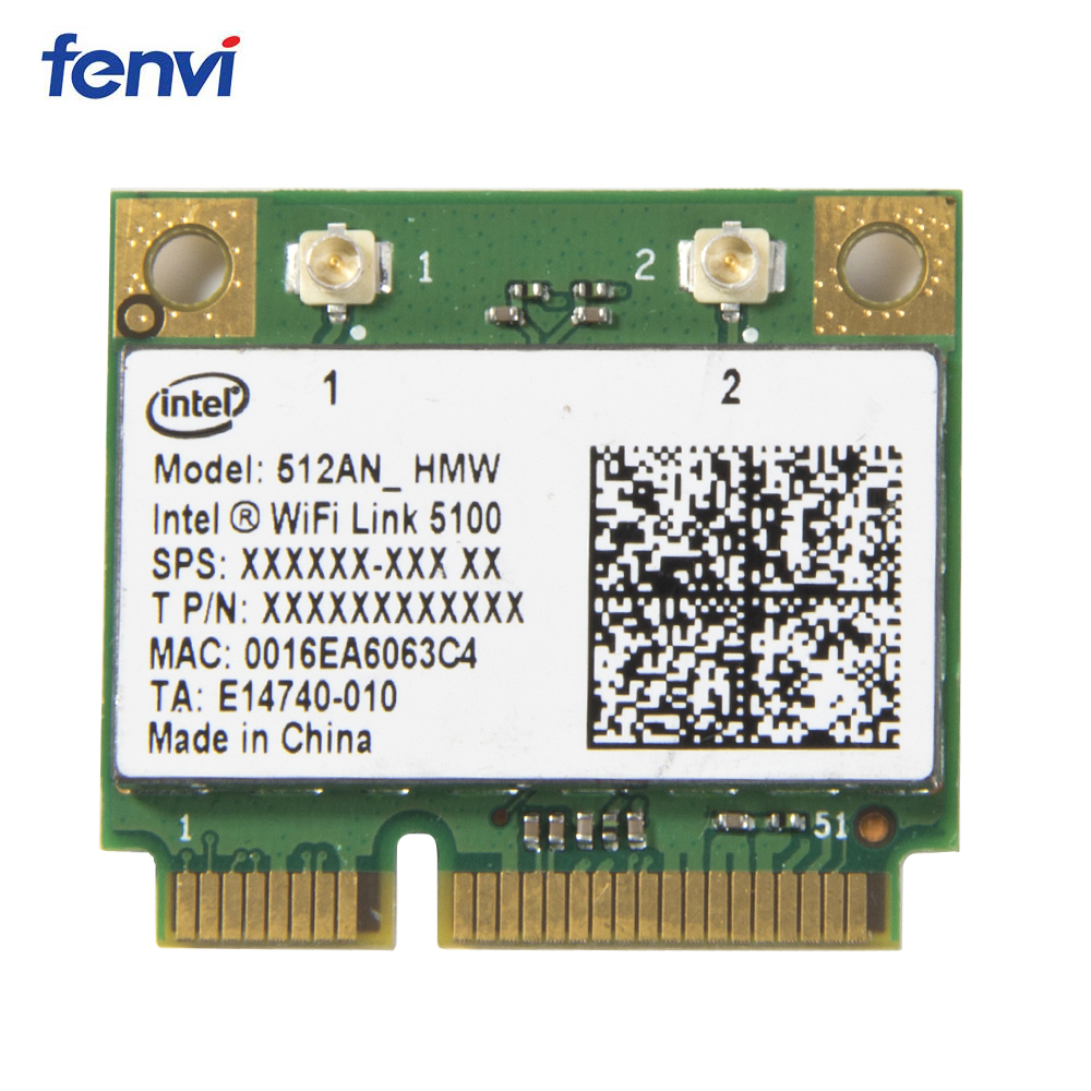 Wireless Wi-Fi Network Card Adapter With Intel 5100 512AN_HMW with Half Mini PCI-E 802.11agn Dual Band 300Mbps For Laptop