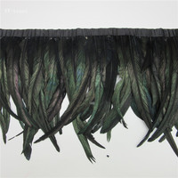 wholesale 10 yards long black high quality natural rooster feather trims trimming with Satin Ribbon 30 35cm for women skirt