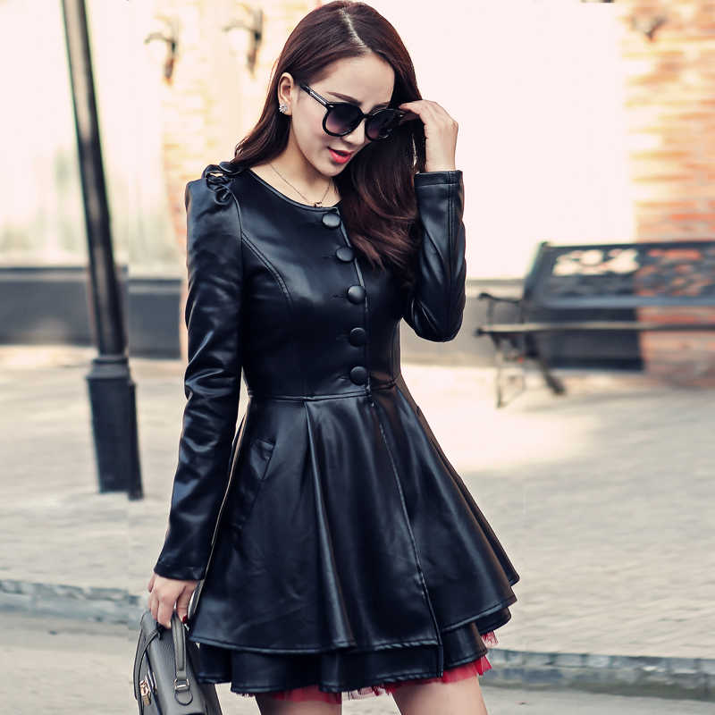 Autumn Leather Trench Coat For Women Plus Size Long Sleeve Single Breasted PU Leather Jackets Female Leather Coat Black A1672