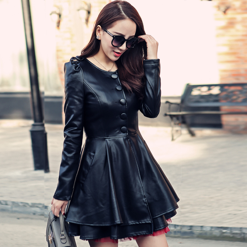 Autumn   Leather   Trench Coat For Women Plus Size Long Sleeve Single Breasted PU   Leather   Jackets Female   Leather   Dress Black A1672