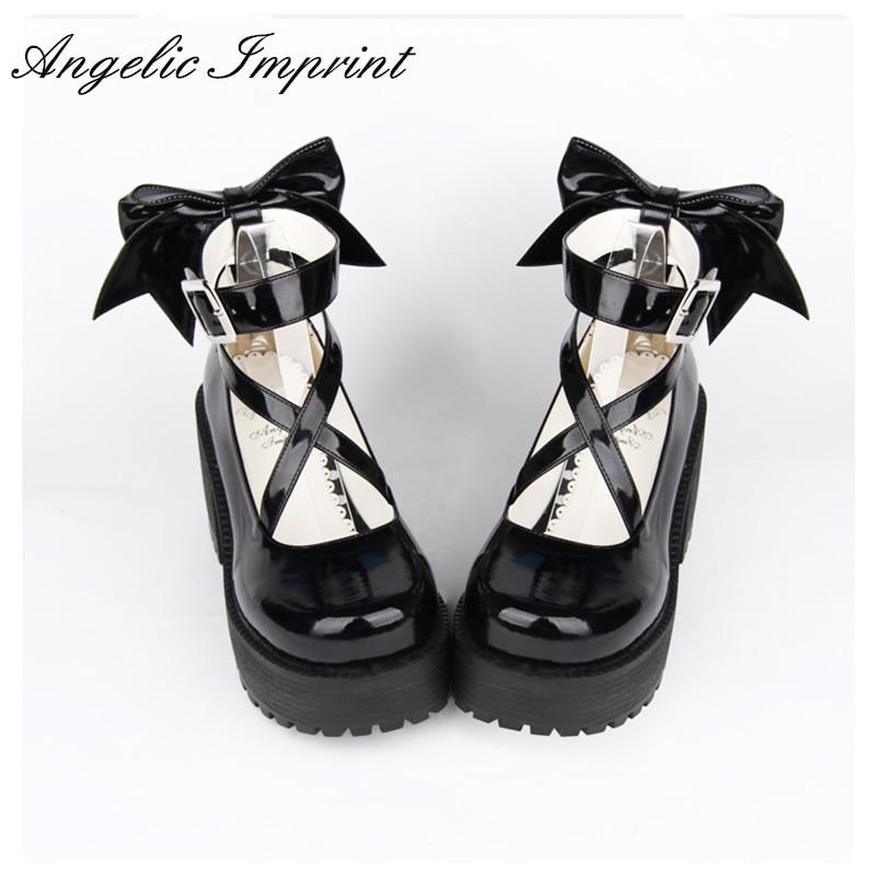 8cm High Heels Black Strappy Platform Pumps Sweet Lady Lolita Cosplay Party Shoes цены онлайн