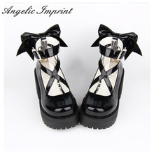 8cm High Heels Black Strappy Platform Pumps Sweet Lady Lolita Cosplay Party Shoes