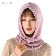 Gorro de lana tejido suave para mujer, bufanda elegante, gorros, pasamontañas de abrigo para cuello de invierno