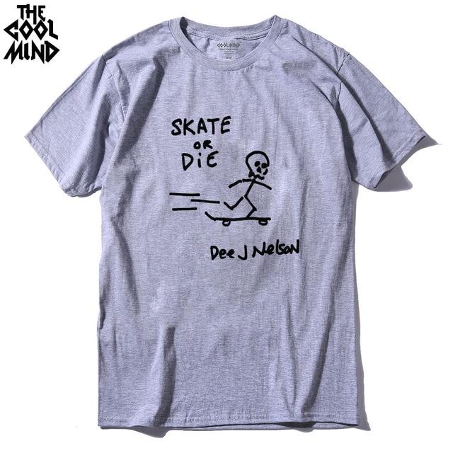 COOLMIND SK0114A 100% algodón skate T camisa casual de manga corta de los  hombres cool 650cba23a0a