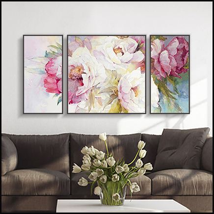 3 Piece Canvas Wall Art Blooming Peony Painting Waterproof Canvas Painting Cheap Modern Picture Paintings By & 3 Piece Canvas Wall Art Blooming Peony Painting Waterproof Canvas ...