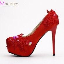 New Super High Heel Platform Red Satin Elegant Bridal Shoes Stiletto Heel Wedding Shoes Sequins Lace