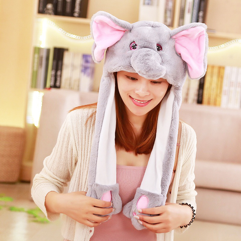 Energetic 60cm Funny Animals Rabbit Elephant Unicorn Hat With Ears Flapping Plush Toy Stuffed Soft Hat Doll Children Birthday Xmas Gift Relieving Heat And Sunstroke