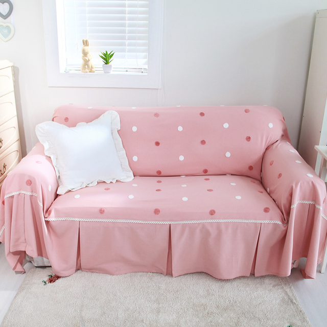 Pastoral Cotton Candy Dot Sofa Cover Pink Sofa Covers For