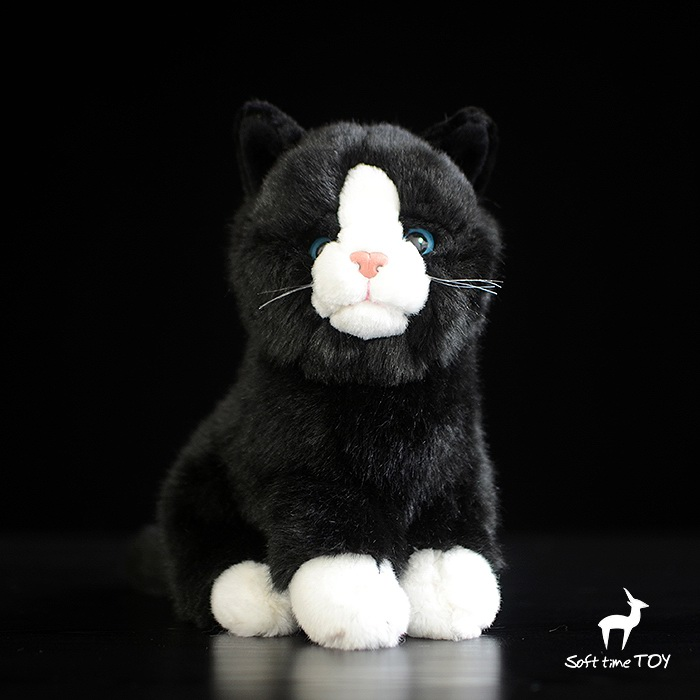 Plush Cat Doll Toys  Simulation Black Cats Stuffed Animal Children's Toy Cats Gifts Female cute siamese cat plush doll toys simulation stuffed animal kids toys cats dolls gifts female