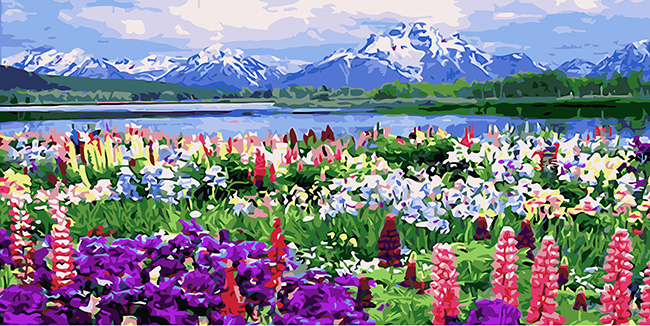 bloomy flower diy oil painting by numbers hand Canvas Art for home kitchen decoration