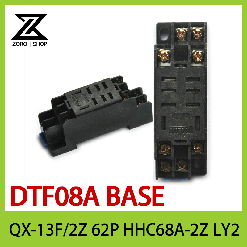 20Pcs/lot Relay Base DTF08A 8 Pins DIN Rail Mount Power Relay Holder Socket Base for HH62P LY2 Easy to Operation 3 pcs din rail mounting plastic relay socket base holder for 8 pin relay pyf08a