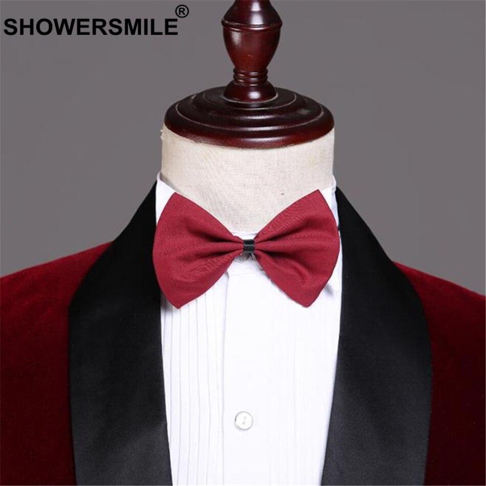 SHOWERSMILE Velvet Burgundy Blazer Men Suits 3 Pieces Set British Style Red Suit Jacket Wedding Groom Singer Slim Fit Blazer-in Suits from Men's Clothing    3