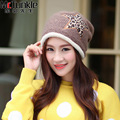 New Styling Winter Headwear Women Warm Cotton Wool Casual Star Pattern Knitted Hat