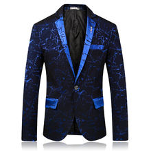 лучшая цена Suit jacket men's slim business casual suit jacket large size S-3XL men's fashion single-breasted collar metal decorative blazer