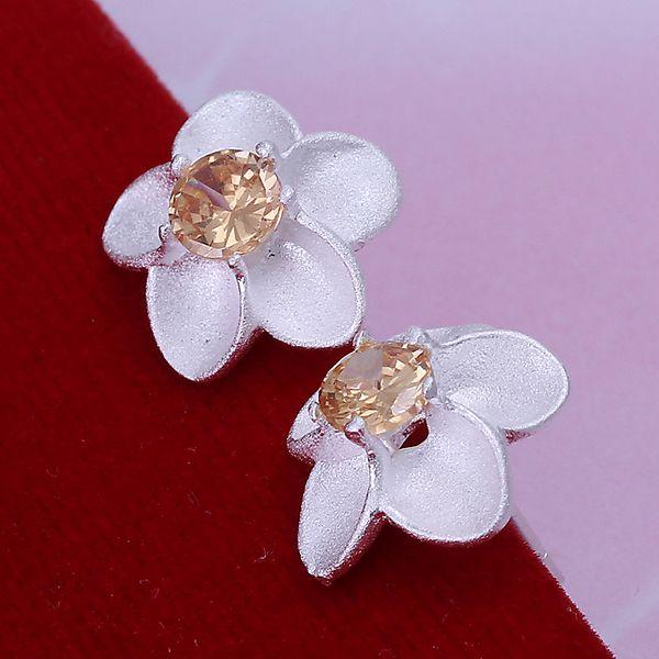 c7897c3eb83adc 925 srebro kolczyki, Posrebrzane biżuteria, Żółty Kamień Rose Kolczyki  E178/douamgba eieamzla LKNSPCE178