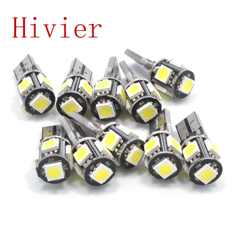 Wholesale new High Quality Canbus White Blue 10x T10 5smd 5 smd 5050 Led Car Light W5w 194 Error Bulbs free Shipping