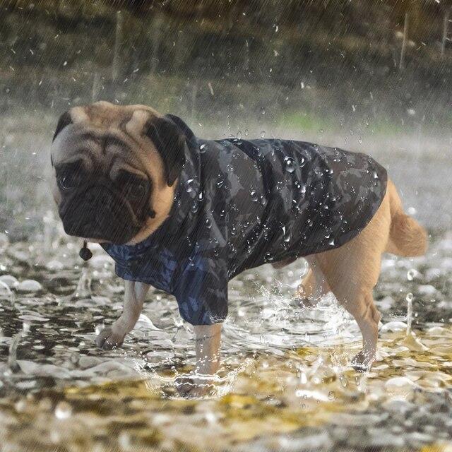 e4e4168f81d54 Para Mascotas perro impermeable camuflaje impermeable con capucha abrigo  chaqueta al aire libre para pequeños grandes