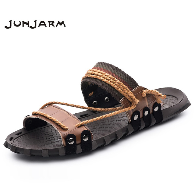 f0aa6362d JUNJARM Handmade 2018 Men Slippers Genuine Leather Mens Beach Sandals Summer  High Quality Men Flip Flops Big Size 38-47