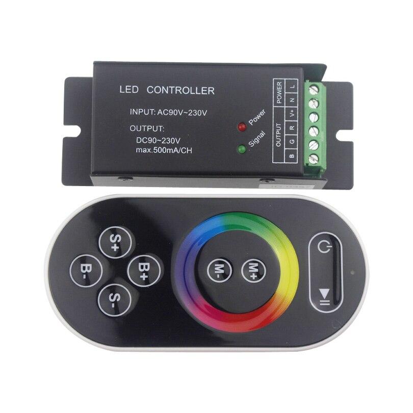 AC 90-230V led rgb controller black aluminum rf remote controller 3 channels remote control for led strip light free shipping
