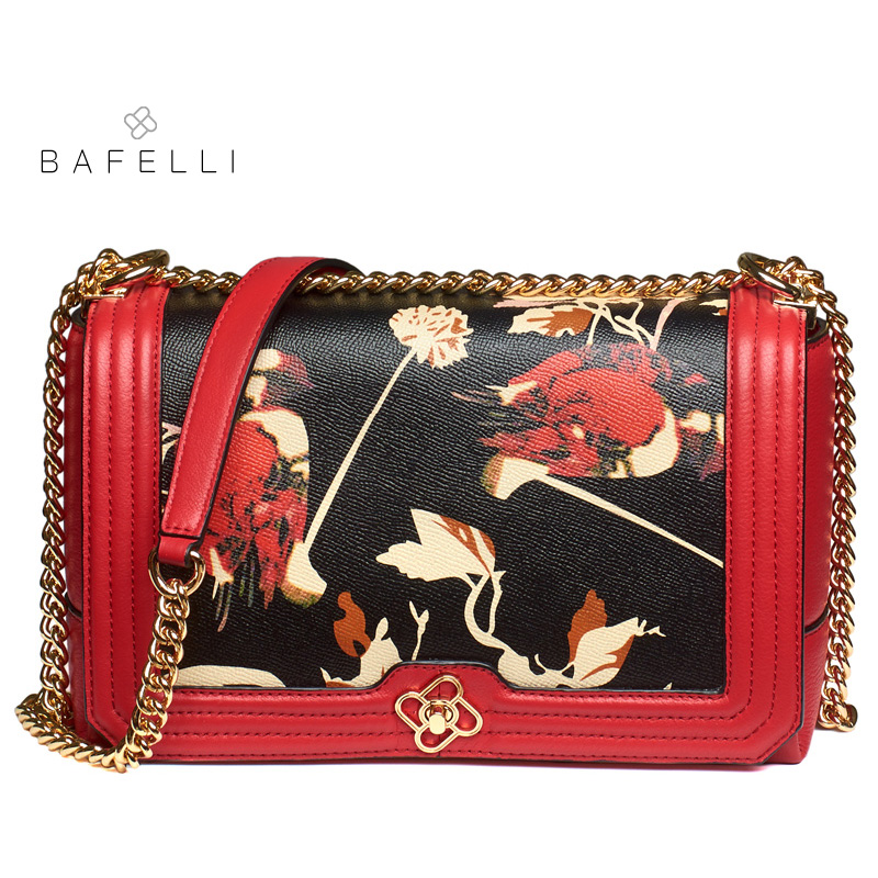 BAFELLI new arrival genuine leather shoulder bag chinese style cow leather crossbody bag hot sale floral printing hasp women bag elegant women s shoulder bag with floral print and hasp design