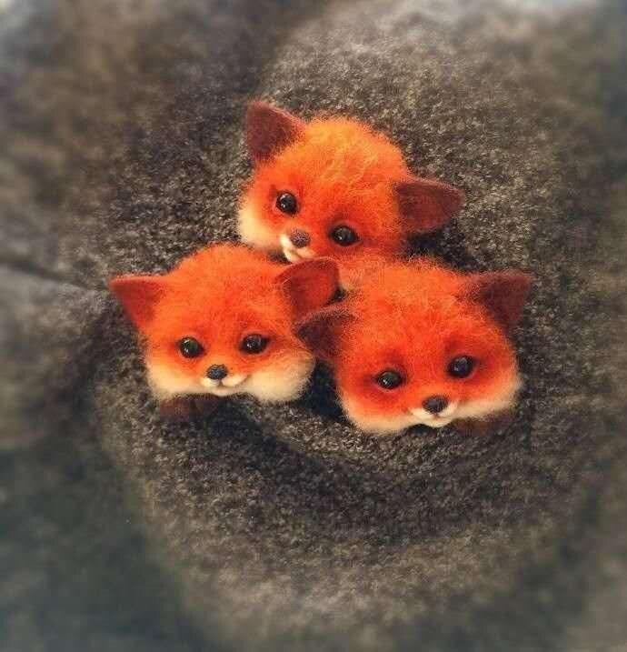 Wool Felt Poked Hand Made DIY Material Package Felt Animal Cat Foxes Raccoon Animals Brooch Kits Fox