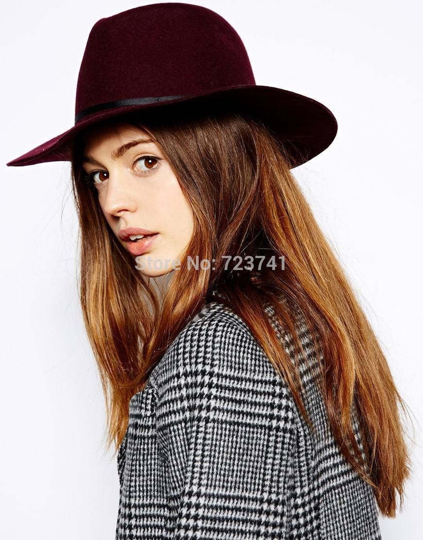 6pcs/LOT New Fashion Autumn Winter 100% Wool Women's Fedora hats Floppy Trilby felted hat Ladies Panama Cap Adjusted Wholesale