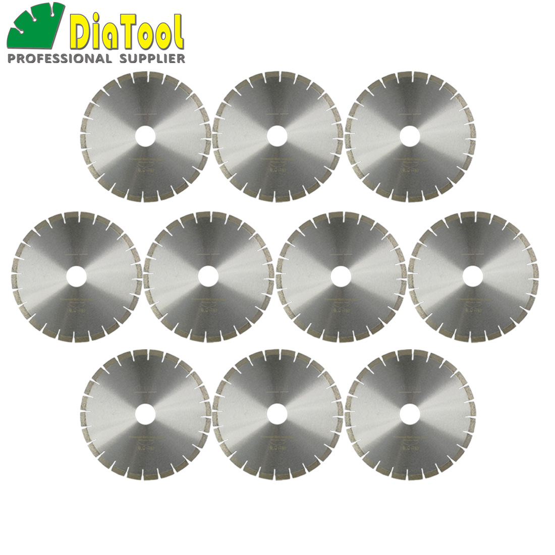 DIATOOL 10pcs 14 Diamond Silent Saw Blade Sandwich Steel Core Cutting Disc Bore 60mm Dia 370mm Granite Blade Diamond Wheel Disk free shiping1pcs aju c10 10 100 10pcs ccmt060204 dia 10mm insertable bore drilling end mill cutting tools arbor for ccmt060204