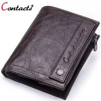 Contact S Brand Coin Purse Men Wallets Leather Genuine Clutch Male Wallet Small Money Bag Coin