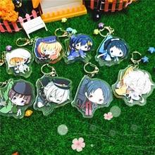 8pcs/set Anime Keychain Touken Ranbu Online Kogitsunemaru Tsurumaru kulcstarto Keychian Keyrings Nakigitsune Pendant llavero