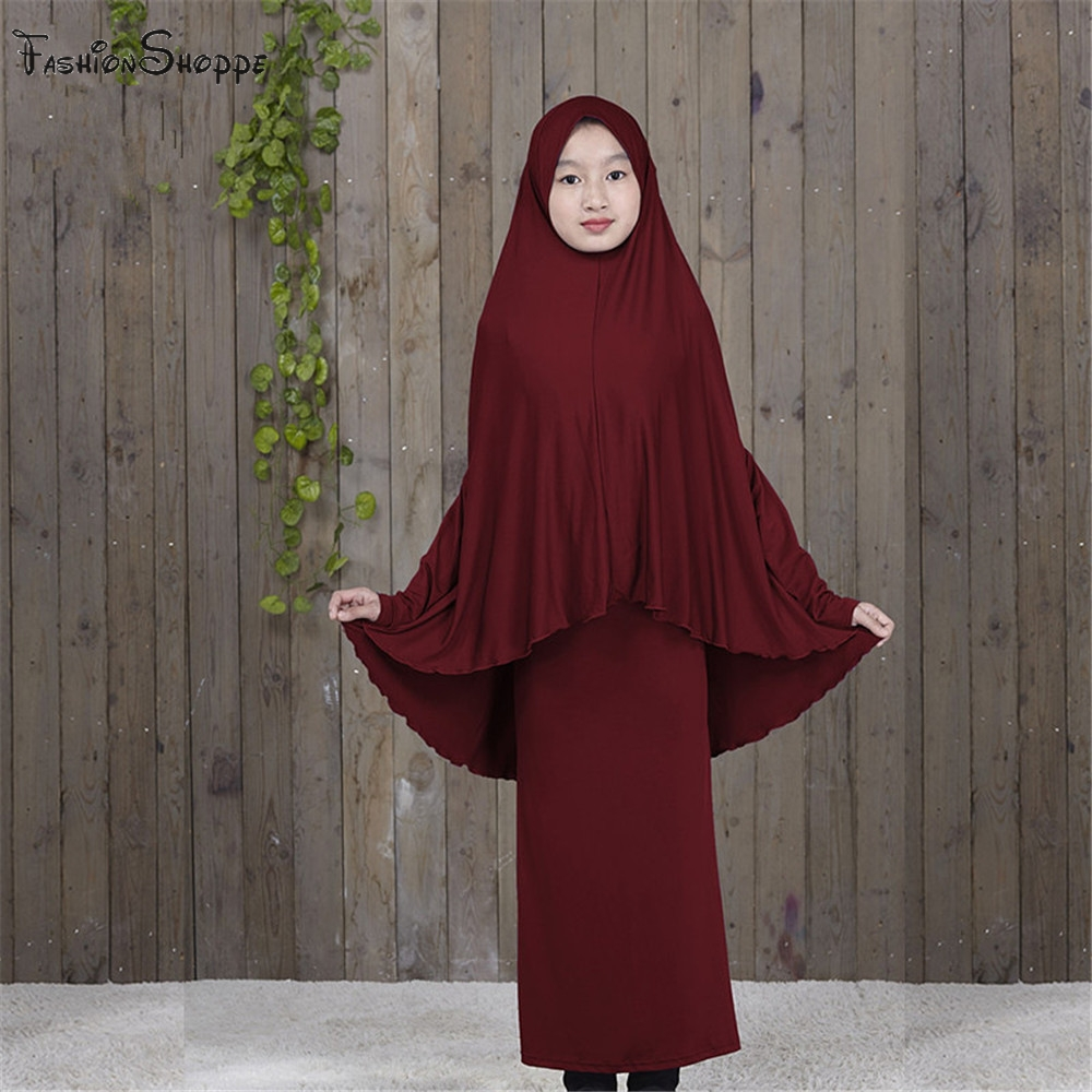Traditional Abaya Hijab Robes for Girls Two Piece Muslim Prayer Clothes Kids Solid Loose Large Abayas D828