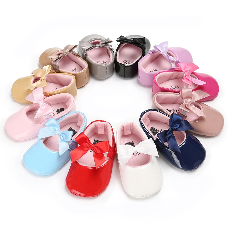 0-18M Toddler Baby Girl Shoes Soft Bottom PU Leather Princess Shoes Bow Infant Prewalker Newborn Baby Shoes Baby Moccasins