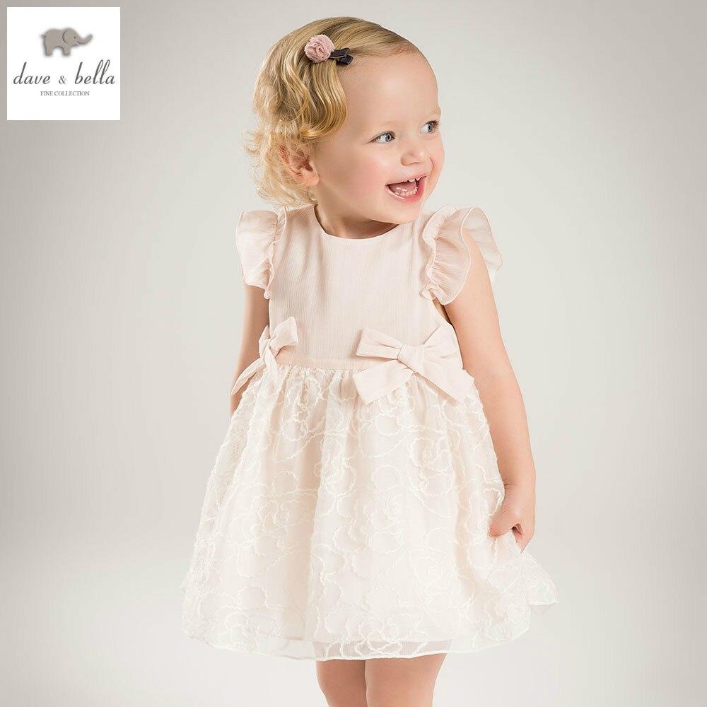 Db4953 Dave Bella лето платье принцессы для маленьких девочек ребенок большой лук Чистая Пряжа торжественное платье Детская одежда для дня рождени...