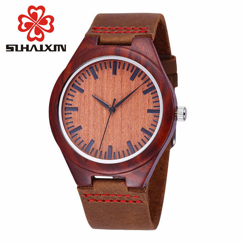 Wood Watch Billige menns Wooden Watch Red ekte Cowhide Leather Band - Herreklokker - Bilde 2
