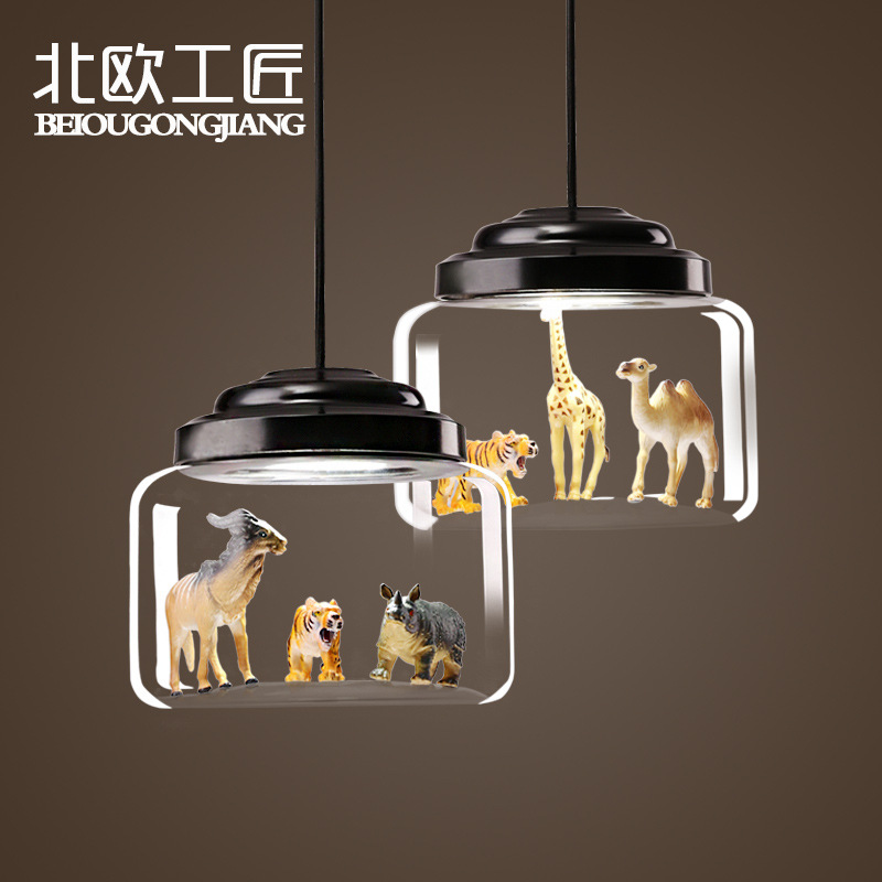 Nordic Children's Room Animal Tiger Model Glass Lampshade Pendant Light Dining Room Living Room Cafe Bar Bedroom