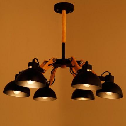 America Simple Wooden LED Vintage Pendant Lights With 6 Lamps Fixtures Loft Industrial Light Lampe Pendente De Teto