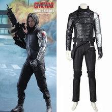 34c8ff04bae9 Winter Soldier Costume Captain America 2 Cosplay James Buchanan Bucky  Barnes Costume Coat Outfit Superhero Halloween