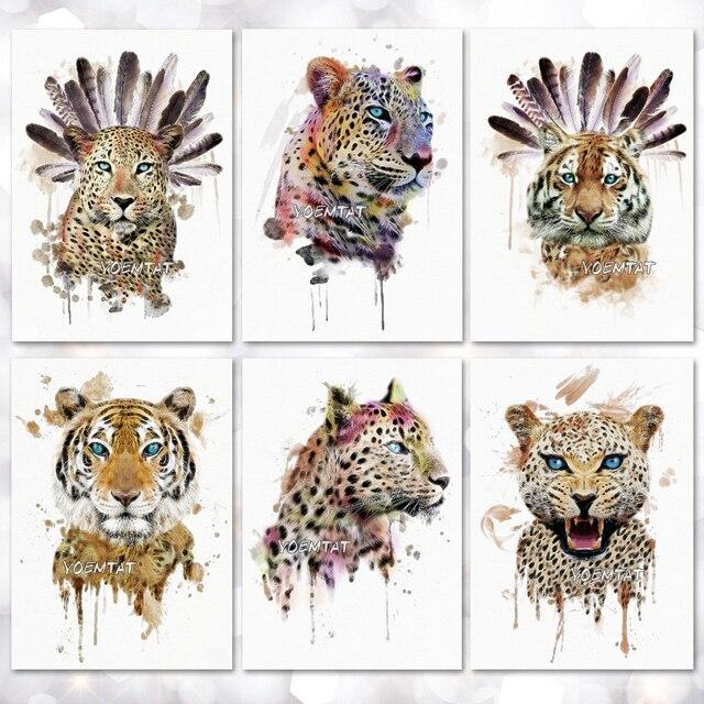 Водонепроницаемый Временные татуировки Стикеры дикий стиль Тигр леопардовым узором татуировки переноса воды боди-арт поддельные татуировки для мужчин и женщин