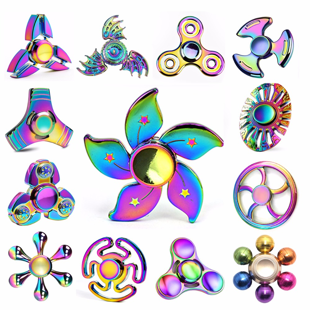 Newest Fidget Spinner Rainbow Metal Colorful Hand Tri-Spinner Gyro Adult Child Funny Ball Flower Round Wheel Toy Kid Child Gift tri blade hand fidget spinner focus toy