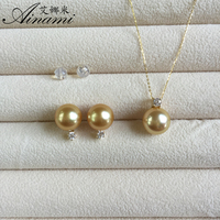[Ainami] 10 11mm Southsea pearl Pendant & Earrings 18k yellow gold Cultured Pearl Sets, Jewelry Sets Free shipping
